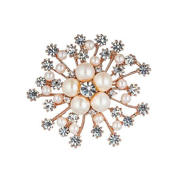 Flocons de neige avec perle de la mode et Swarovski blanche élément cristal Broche (15620)