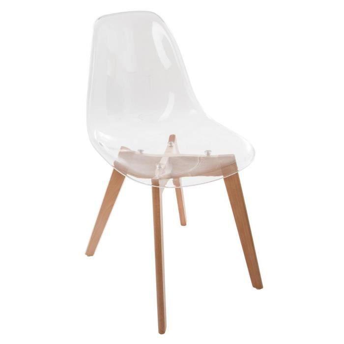 Chaise scandinave transparente ZEPA Autres Blanc Achat Vente