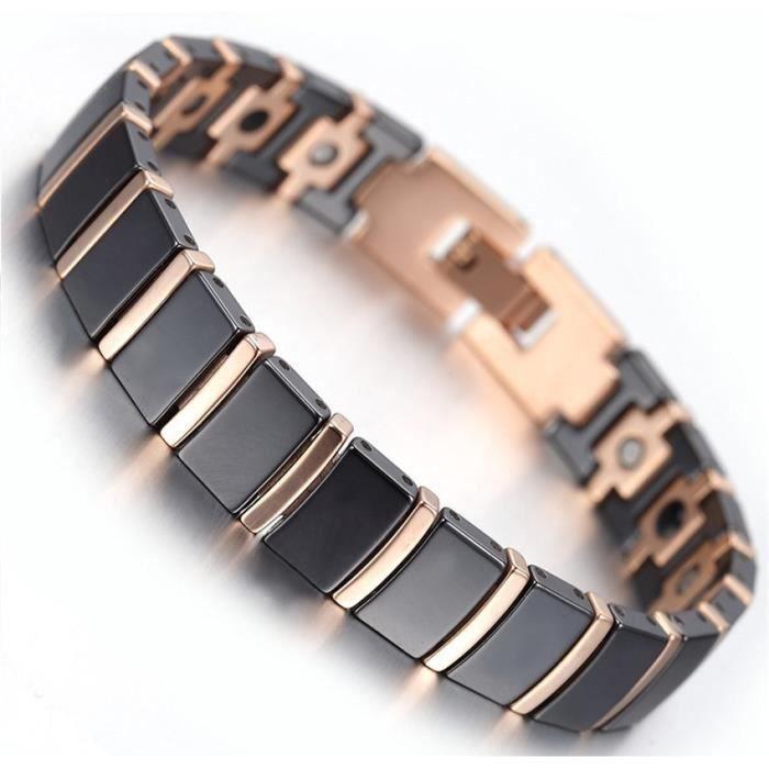 Bracelet magnétique céramique noir et cuivre avec aimants - Longueur 19,6 cm