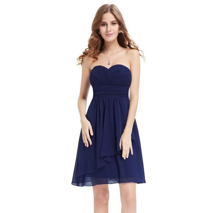 83ee6e92494 Luna et Margarita Robe courte bleu marine de soirée demoiselle d honneur  bustier sexy dos nu style simple plissée …
