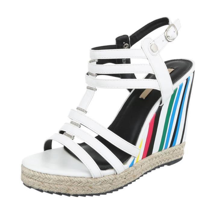 femme sandalette chaussure escarpin Chaussures de soirée Élégant Fête Club High-Heel semelle compensée Wedges Strappy blanc 0s9OV