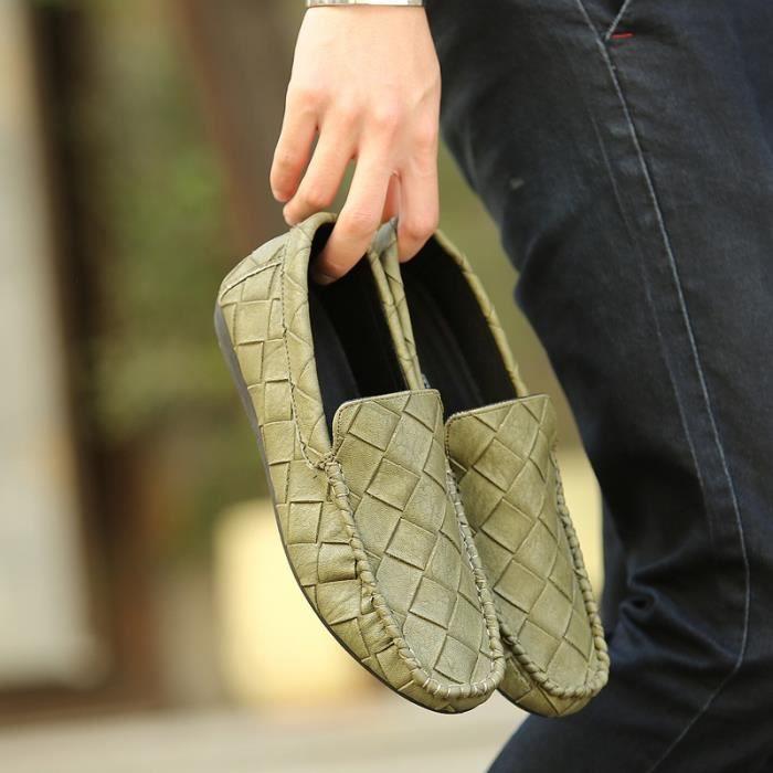 Casual de Chaussures confortable Slip souplevert39 Mocassins Flats sur cuir en arrivée vert39 Hommes Chaussures Nouvelle conduite tHASwz