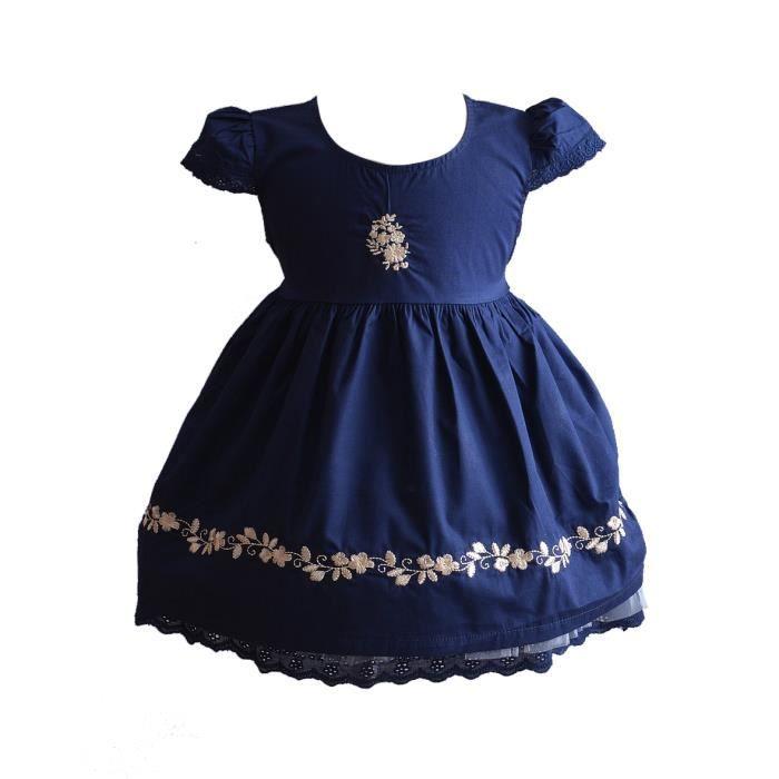 eeddc4b5b0148 Cinda Robe brodée bébé fille 6-9 Mois bleu foncé Bleu Bleu foncé ...