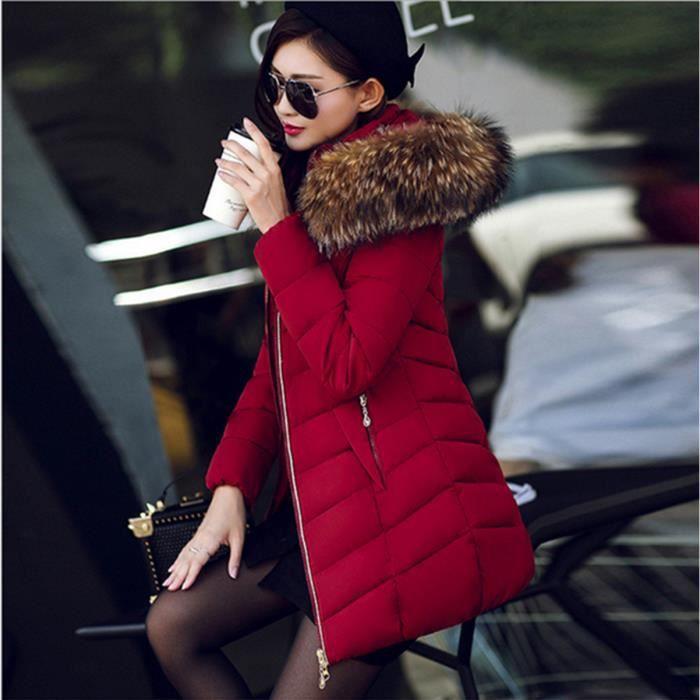 e02eb7cee465f2 Doudoune longue femme avec capuche fourrure 2018 2019 Manteau Hiver  Veste Jacket