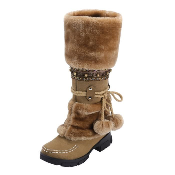 timeless design c84b5 3ffff femmes-suede-hairball-bout-rond-carre-chaussures-a.jpg