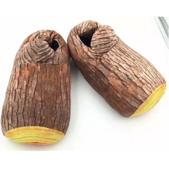 Pantoufles chaudes Creative Arbres en peluche Ameublement package créative avec des chaussons de bois 0v0DA