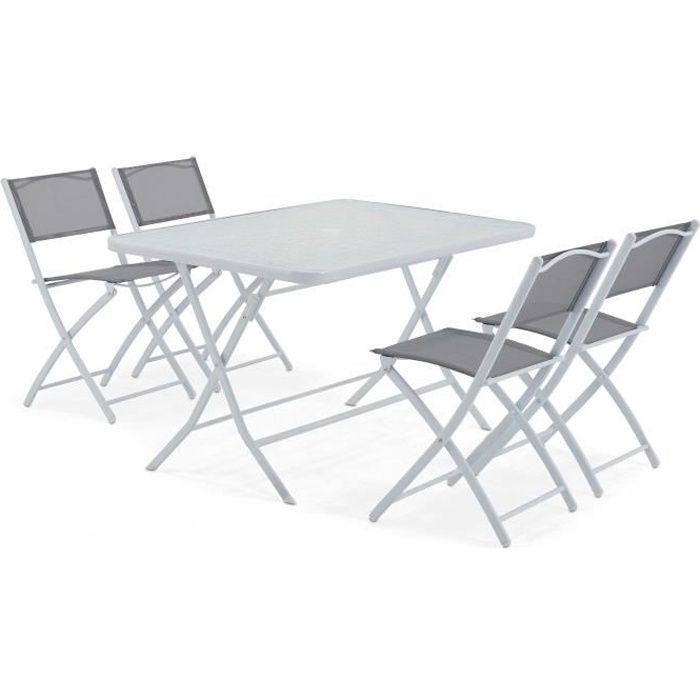 Table de jardin 6 personnes en plastique salon de jardin table en ...