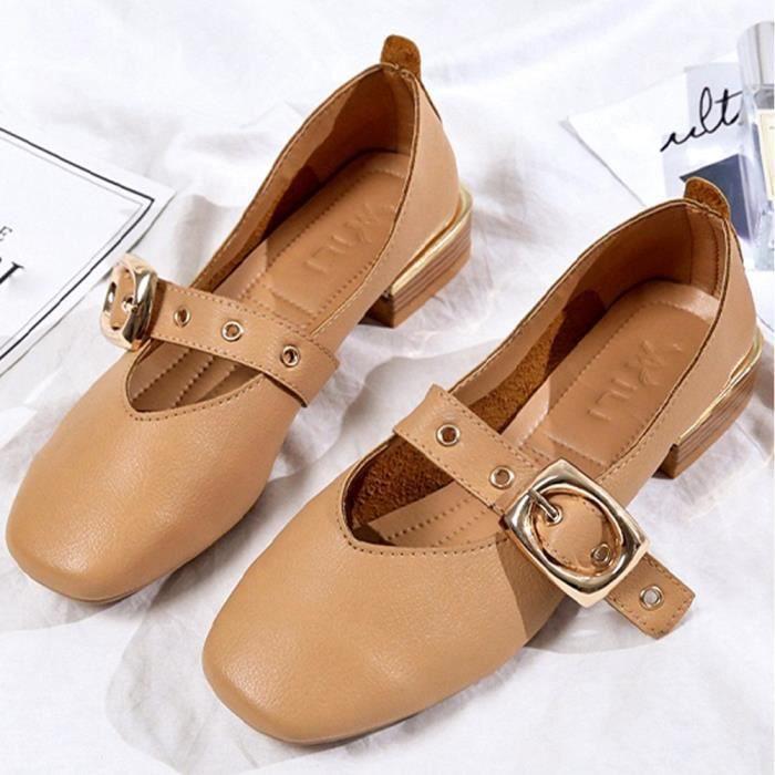 love2132 Chaussures Bottes Beguinstore Talons Mode Femme Courtes pais tudiant Marron Martin paisses aTqqPAEn