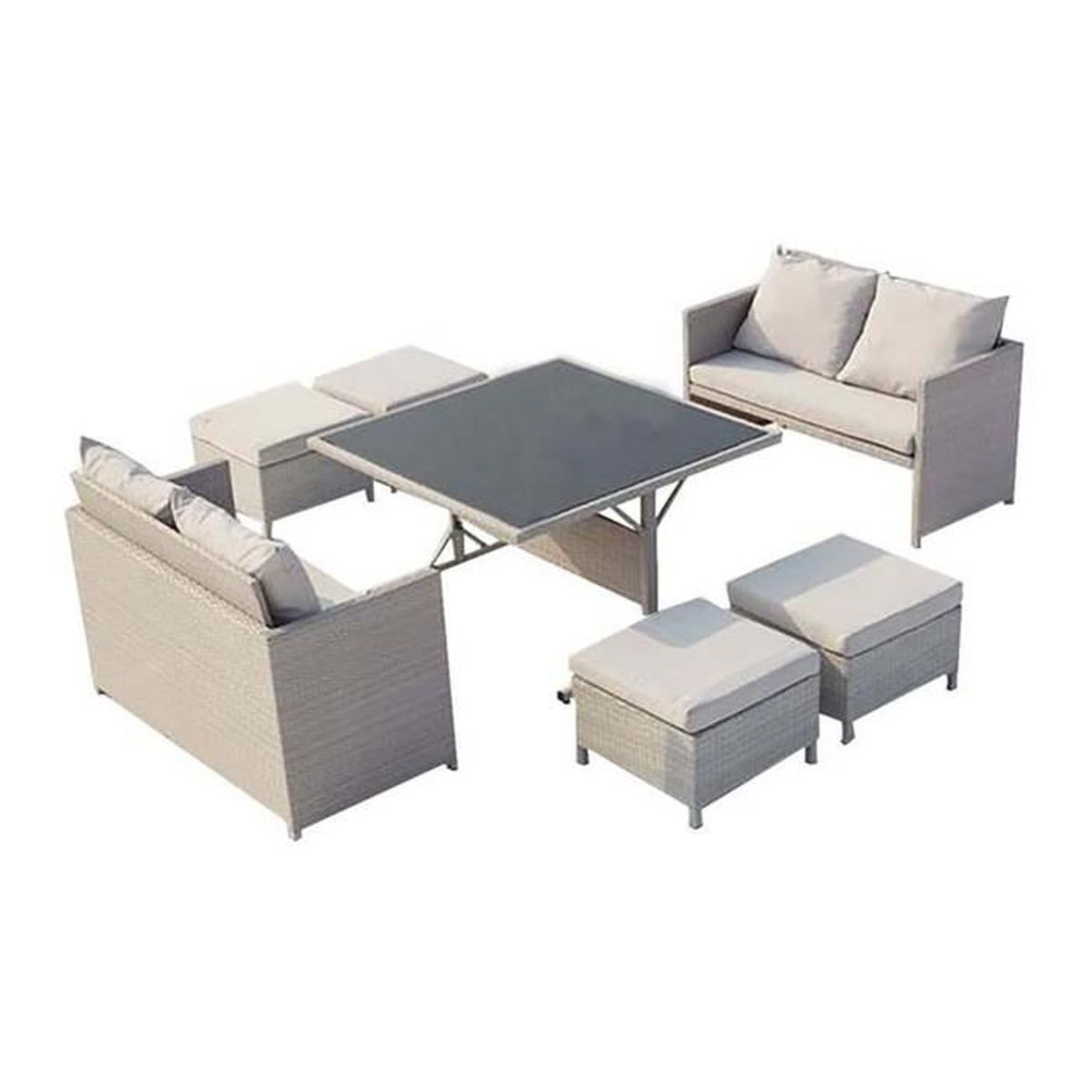 Salon complet gris et blanc - Achat / Vente Salon complet gris et ...