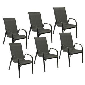 FAUTEUIL JARDIN  Lot de 6 chaises MARBELLA en textilène gris - alum