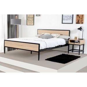 STRUCTURE DE LIT NAMUR Lit adulte industriel décor bois et noir - l