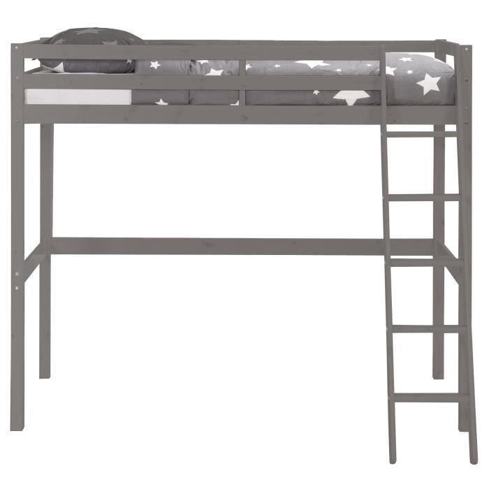 lit mezzanine gris moins cher milprix. Black Bedroom Furniture Sets. Home Design Ideas