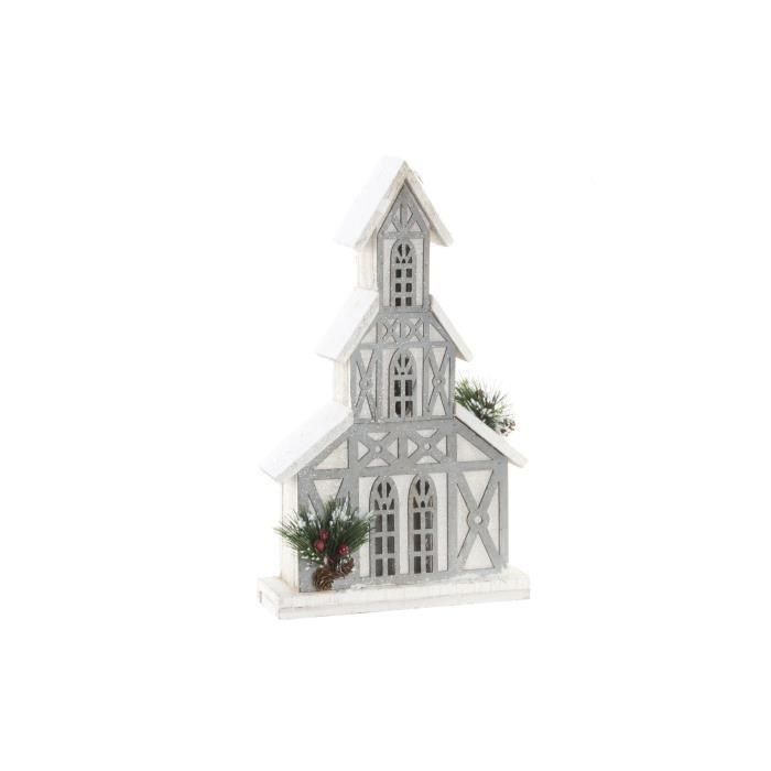 Maison de Noël lumineuse en bois blanc 24x8x41cm