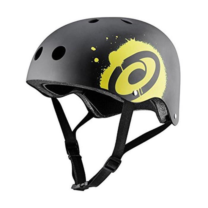OSPREY Casque de skateboard - Mixte - Noir et jaune