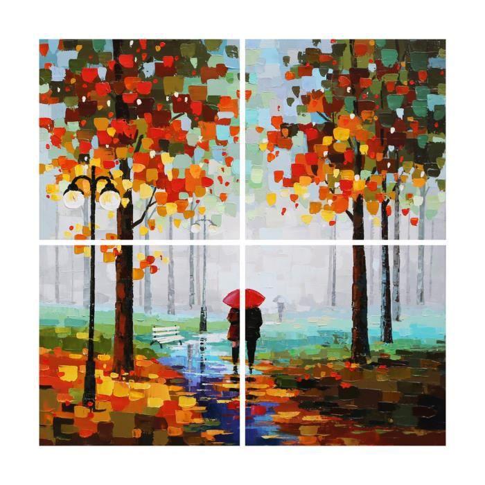 AONBAT peinture à l'huile Peint à la main Ballade en forêt sous la pluie, automne effet touche de couleur Décoration Maison