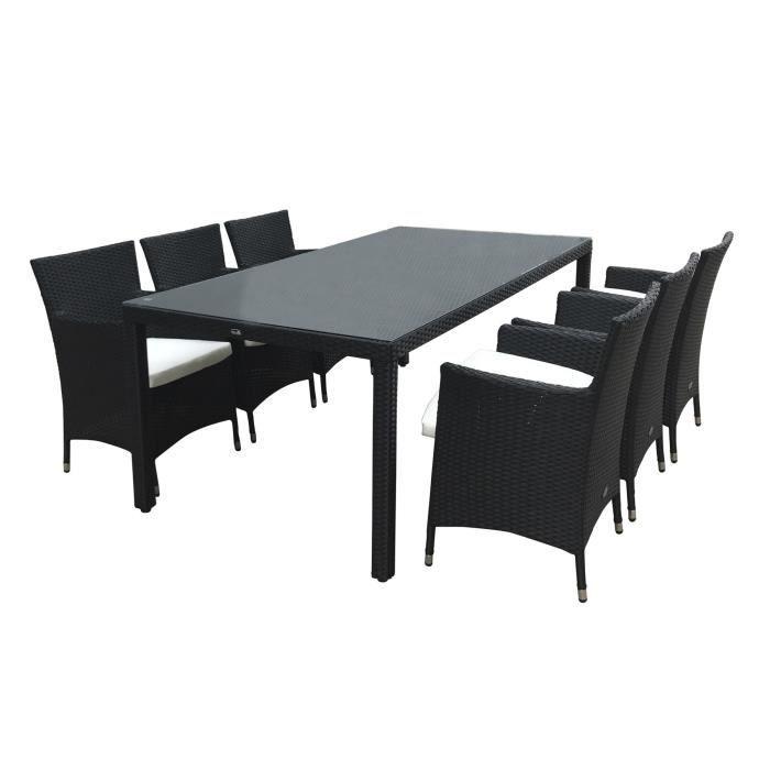 Table Et Chaise En Rsine Tresse 6 Places Noir