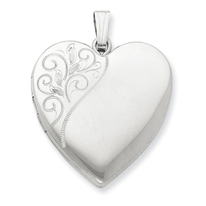 24 mm Argent 925/1000 poli-Motif médaillon en forme de cœur