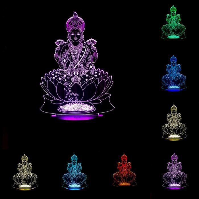 Richesse Lumière Visuel 7 Nuit Led Inde Cadeau Forme Chambre Décor 3d Couleurs Atmosphère Dieu De Lampe PXZTkuOi