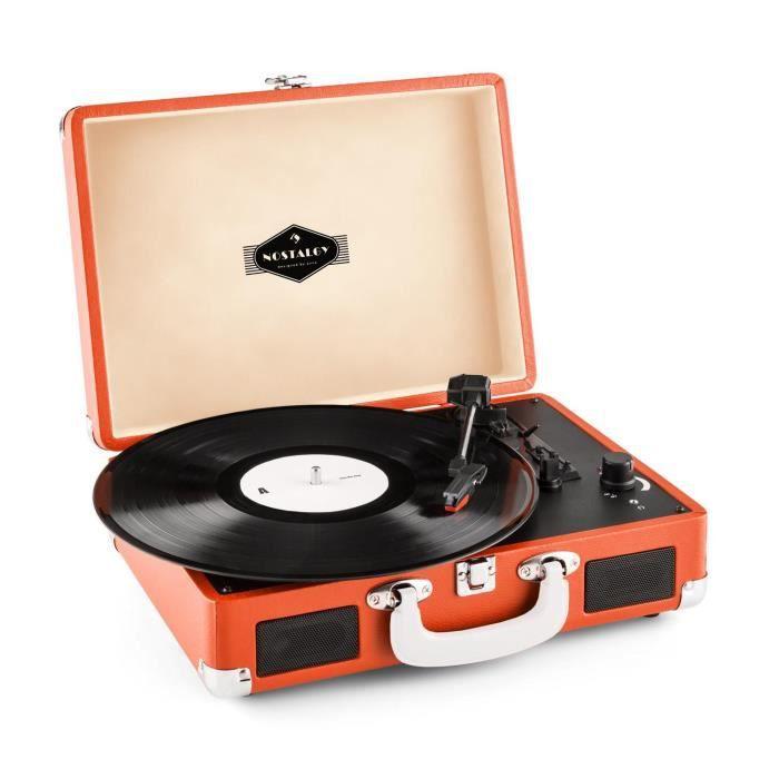 Auna peggy sue platine vinyle portable design valise - Tourne disque avec haut parleur integre ...