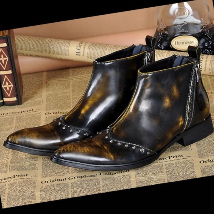 Cuir véritable à l'italienne élégante cheville Bottes Chaussures cowboy hommes sexy de mode Punk Spikes Brown Dress Bottes plus