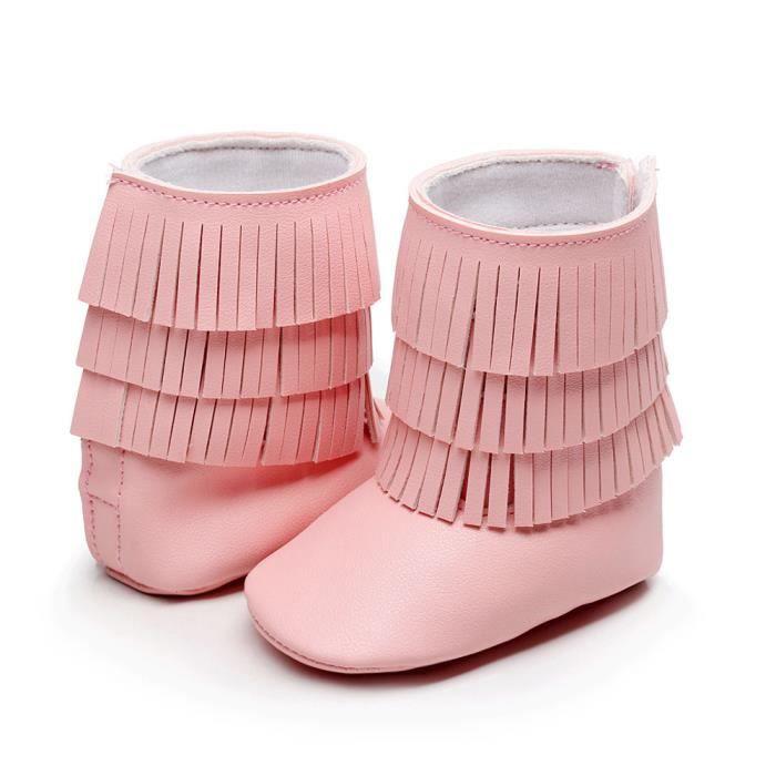 a546bf7e9dd52 Hiver 3 couches franges bébé bottes en bas âge tout-petits bébés bottes de  fond molles Rose
