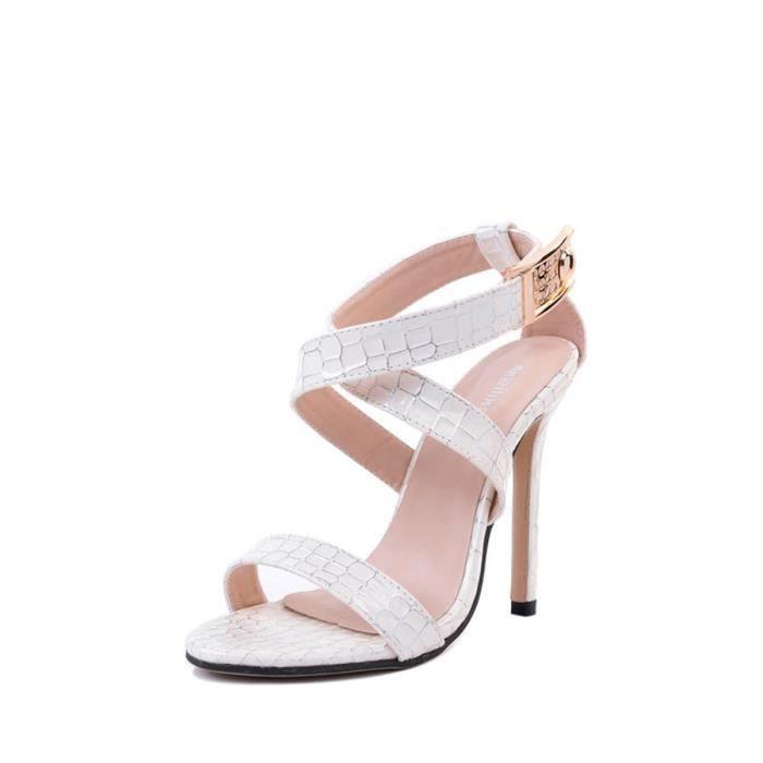 Sandales Toe mince peau de serpent ouvert Chaussures à talons hauts femmes 5712928
