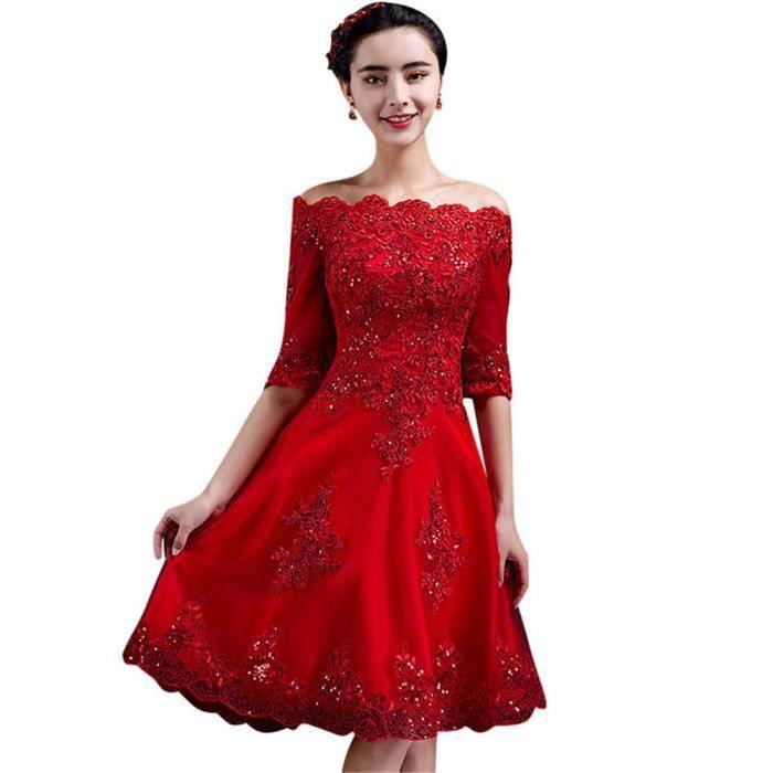 5528aeb9259 Robe de Soiree Élégant Court femme Cocktail Party Rouge VV05419-3 ...