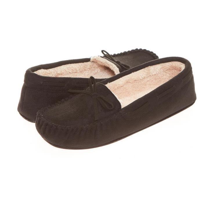 Le glissement sur des femmes en fausse fourrure Lined Slipper Moccasin Flats MXSMI Taille-M wSwojKz