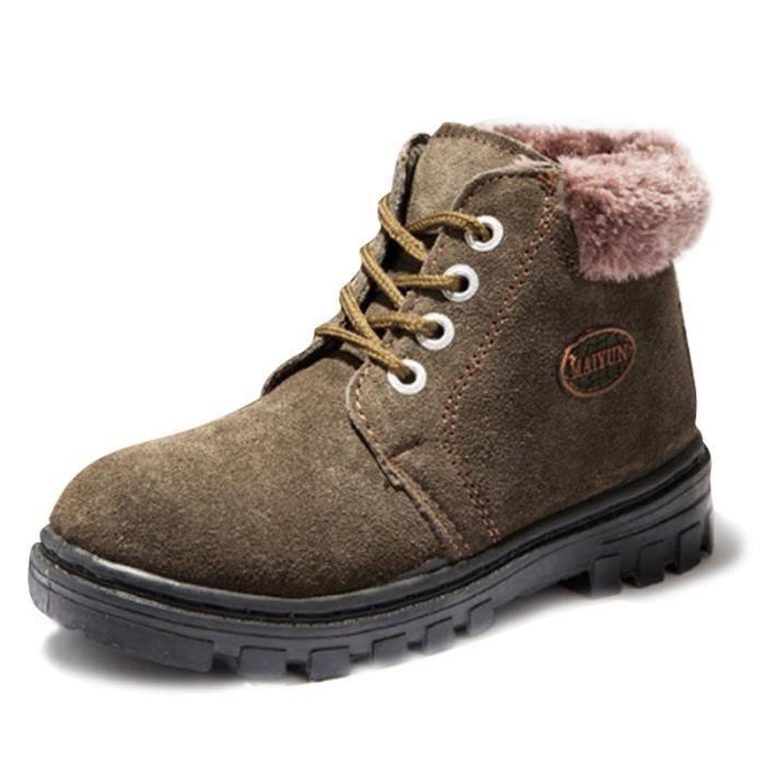 Martin Boots Enfants Hiver Garçons Fille Classique Chaussures BLLT-XZ101Vert35