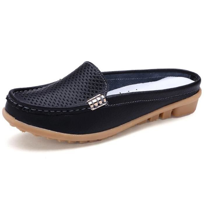 Mocassin Femmes Cuir Occasionnelles Classique Chaussure BBJ-XZ045Noir36