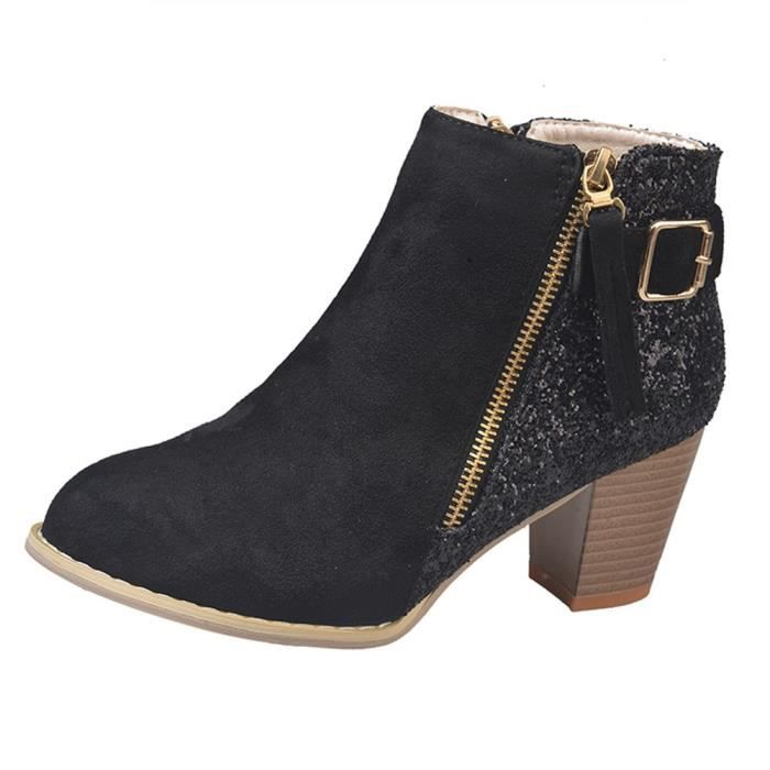 Femmes Toe Round Colors High Thick 3691 Boots uji Mixed Fashion Ankle Noir Side Zipper qvUSw