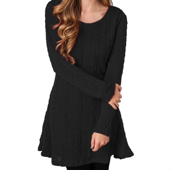 Manches Tricots Tricot À Hauts Mini Hiver Dames Robe Noir Femmes Pull En Jumper Longues TPxqwHa0H