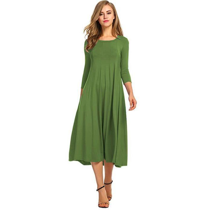 06ad2ecfea1a Femmes Robe Vintage Automne Hiver Femmes Decontracte Lache Boho Long Maxi Robes  Grande Taille Vert L