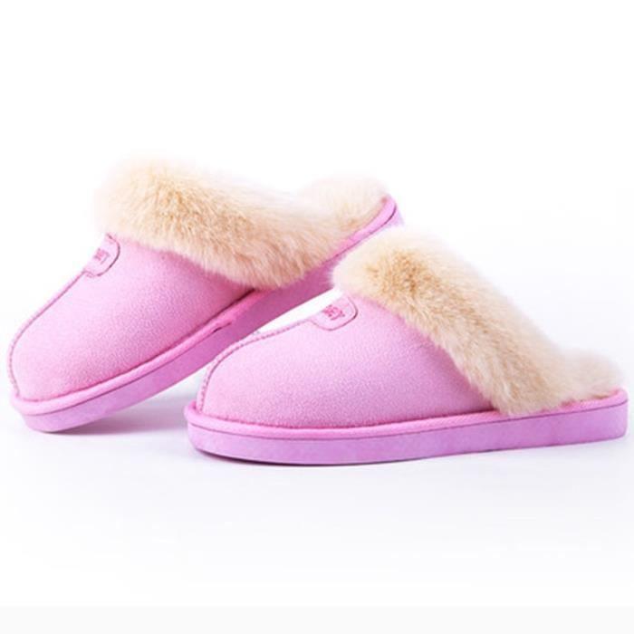 Mode peau de mouton chaud pantoufles fourrure naturelle des femmes chaussures maison hiver pantoufles en daim femme chaussures u1H5cO