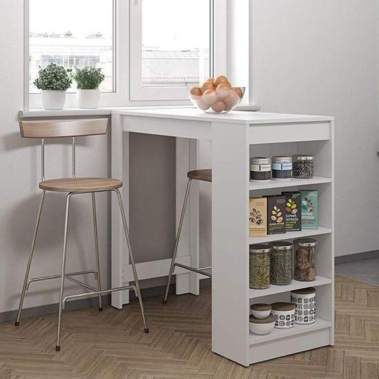 Table Haute 4 Personnes.Laizere Table Bar De 2 A 4 Personnes Style Contemporain Blanc L 115 X L 50 Cm