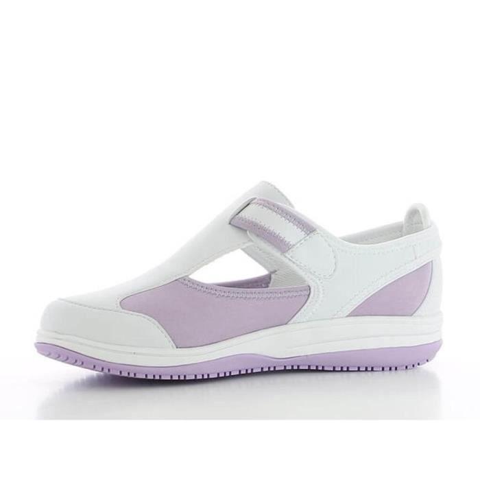 Chaussure médicale blanche et parme SRC antistatique en lycra Oxypas