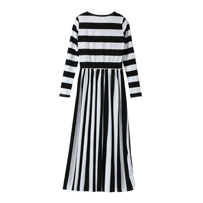 Vroenment®Mom & Me Girls Filles Dress Robe à manches longues à rayures Tenue de famille Vêtements@zf94