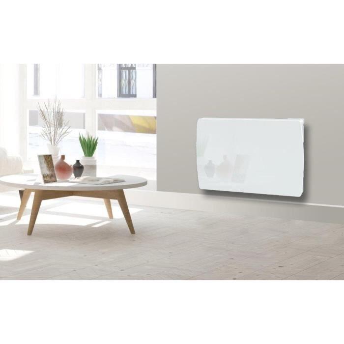 CARRERA Radiateur électrique à inertie céramique Jarpa - Programmable - LCD - 1500 W - Façade en verre blanc