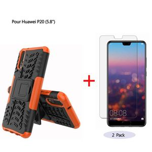 sneakers for cheap the best attitude half price Coque Huawei P20 Orange Coque 2 en 1 Silicone Doux TPU & PC Protection  Antichoc & Film trempé (2 Pack)
