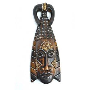 OBJET DÉCORATIF Masque Africain en bois 30cm style tribal. Marron