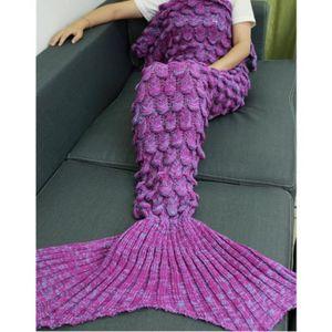couverture de sir ne adulte queue de sir ne couverture tricoter au crochet plaid chaud 180. Black Bedroom Furniture Sets. Home Design Ideas