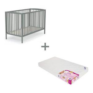 at4 lit b b barreaux gris matelas 60x120 cm achat vente lit b b soldes d s le 9. Black Bedroom Furniture Sets. Home Design Ideas