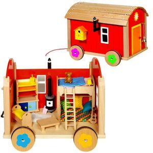 JOUET À TIRER Roulotte jouet en bois avec 23 accéssoires