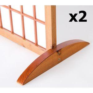 PARAVENT Lot de 2 pieds pour paravent en bois brun - 2.8 x