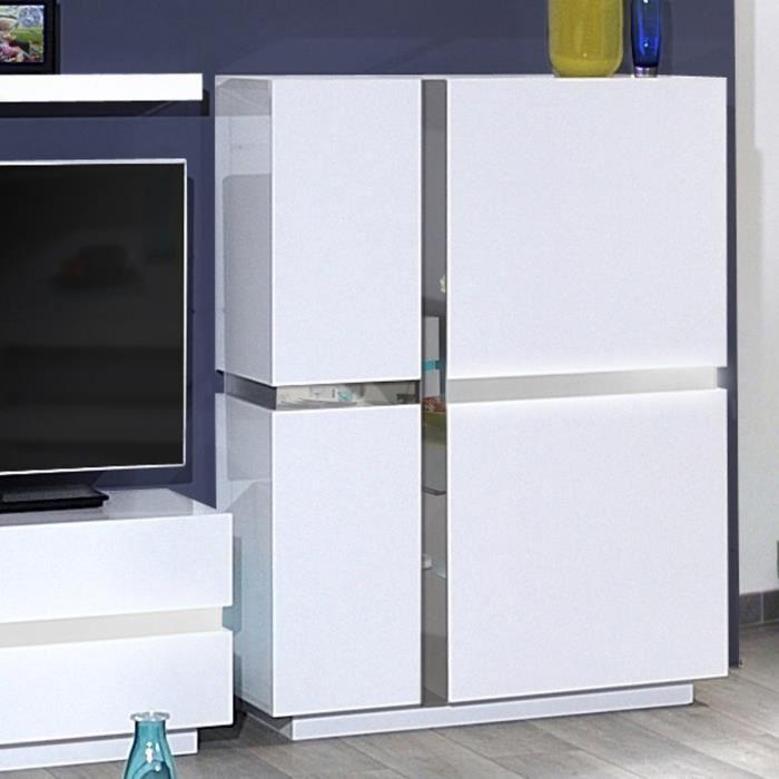 96x42x131 cm - 2 portes - En panneaux de particules - LED incluse - Blanc - Fabrication 100% françaiseVITRINE - ARGENTIER - VAISSELIER
