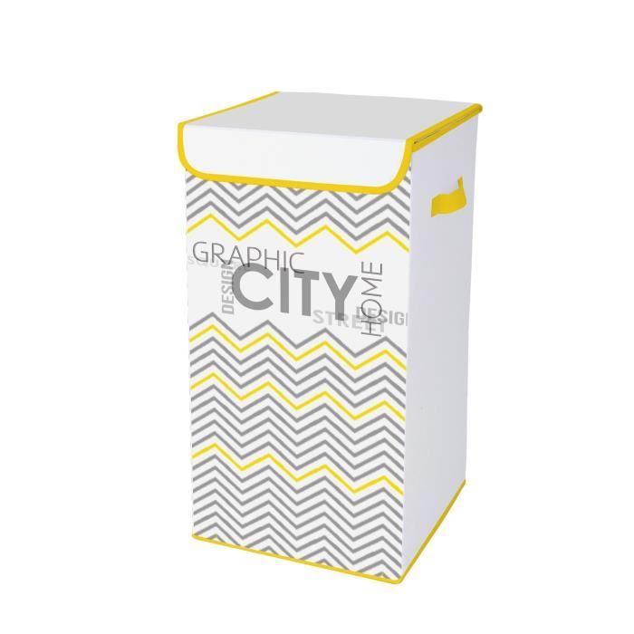 HOMEA Coffre à linge avec couvercle Geometrik 30x30x60 cm blanc et jaune