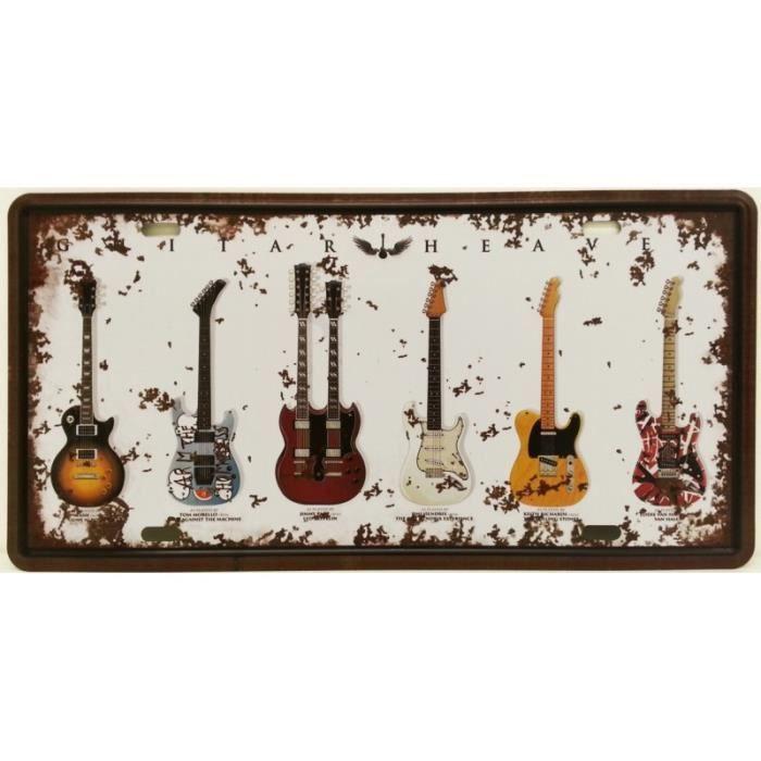 Plaque Métallique Guitares Idoles Achat Vente Objet Décoration