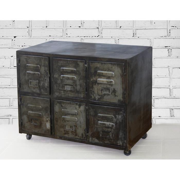 Meuble 6 casiers style industriel - Achat / Vente casier pour meuble ...