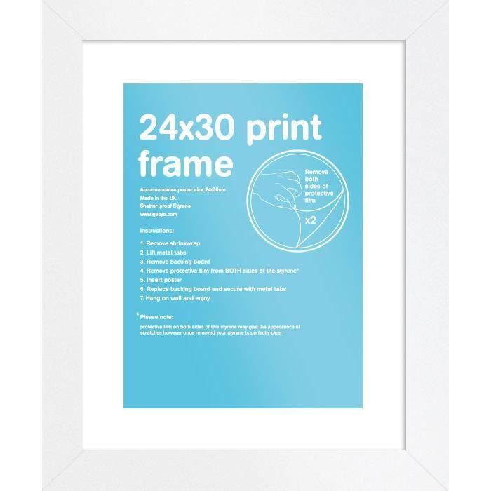 Cadre Pour Affiche En Bois MDF Taille 24 X 30 Cm (Blanc)