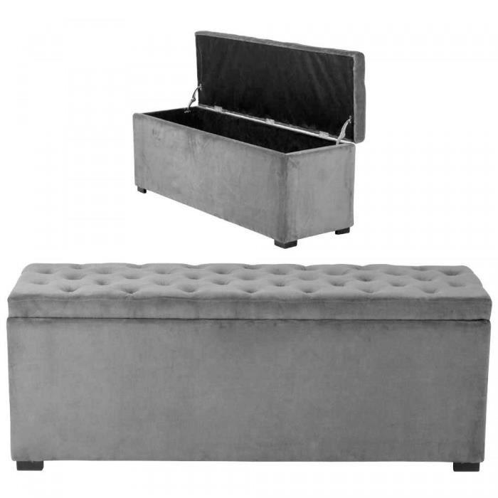 banquette coffre capitonn e casella velours gris 120x40x45cm achat vente banquette cdiscount. Black Bedroom Furniture Sets. Home Design Ideas